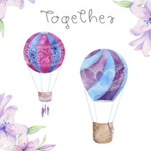 Watercolor Balloon Aquarelle Floral
