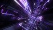 canvas print picture - 3d render, abstract futuristic background, urban tunnel, ultraviolet light, geometric structure, big data storage, quantum computer, cyber safety, virtual reality