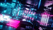 canvas print picture - 3d render, abstract tunnel, urban background, futuristic pink neon light, geometric structure, big data, quantum computer, storage, cyber safety, virtual reality