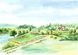 Rural landscape with river and farm. Watercolor hand drawn background