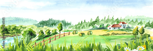 Foto op Plexiglas Wit Rural landscape with river and farm. Watercolor hand drawn horizontal illustration