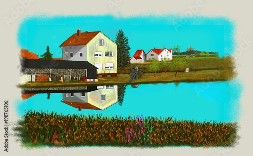 Spoed Foto op Canvas Turkoois Bayerische Landschaft, Dorflandschaft