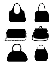 Black Silhouettes. Set Of Female Bags. Six Variants Of Handbag. Vector Illustration Isolated On White Background. Web Site Page And Mobile App Design