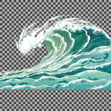 Sea Wave. Hand Drawn Vector Il...