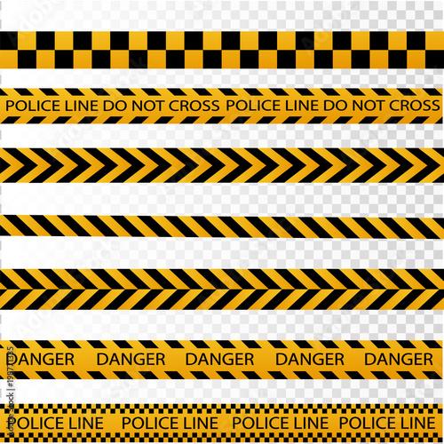 Fotografía  Black and yellow police stripe border, construction, danger caution seamless tap