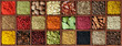 Spices in wooden box background