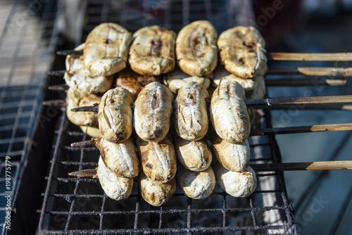 Fototapeta premium Grillowane banany z grilla, uliczne jedzenie, Siem Reap, Kambodża
