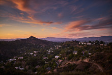 Hollywood Hills At Dusk With C...