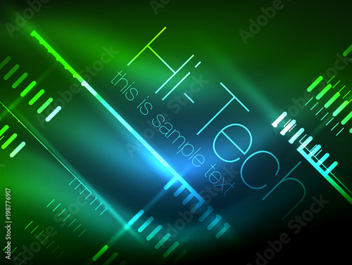 Futuristic Neon Lights On Dark Background Digital Abstract