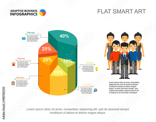 five sectors 3d pie chart percentage infographic design editable