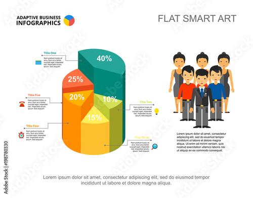 Photo  Five sectors 3D pie chart
