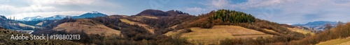 Foto op Aluminium Chocoladebruin panorama of mountainous area of Carpathians. lovely springtime landscape located near the Volovets town, Ukraine