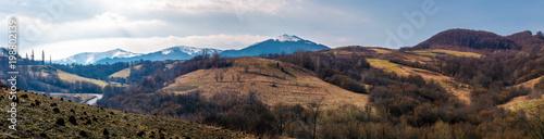 Papiers peints Cappuccino panorama of mountainous area of Carpathians. lovely springtime landscape located near the Volovets town, Ukraine
