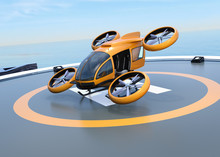 Orange Self-driving Passenger Drone Takeoff And Landing On The Helipad. 3D Rendering Image.
