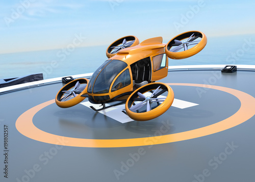 fototapeta na szkło Orange self-driving passenger drone takeoff and landing on the helipad. 3D rendering image.