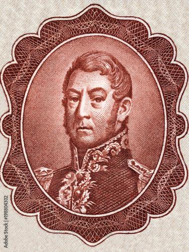 Valokuvatapetti General Jose de San Martin portrait from  Argentinian money
