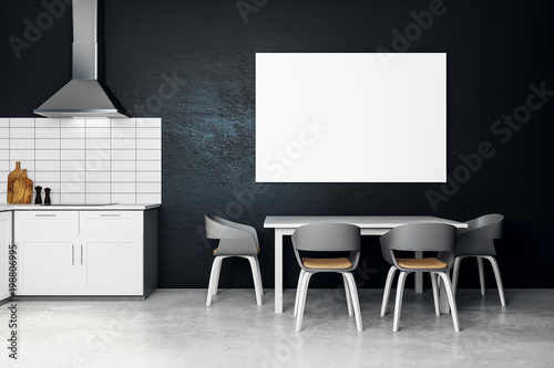 Modern Kitchen Interior With Banner Buy This Stock Illustration
