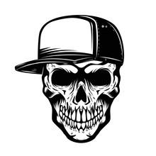Skull In Baseball Hat Isolated...