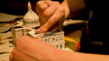 Female Hands Assembling Saint Pauls Cathedral Building Model At Home. Hobby And Leisure