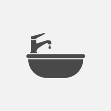 Sink Vector Icon With Tap Wate...