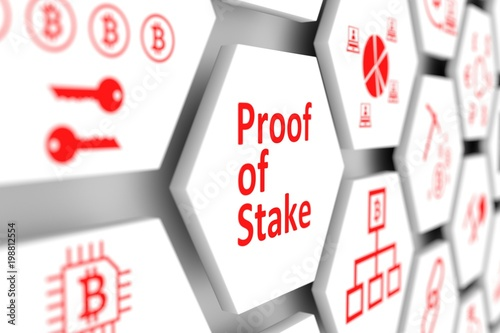 Proof of Stake concept cell blurred background 3d illustration Fototapeta