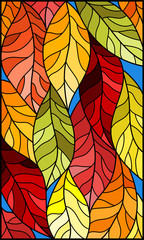 Naklejka Illustration in stained glass style with colorful leaves on blue background