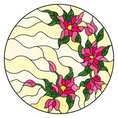 Naklejka Illustration in stained glass style with abstract flowers, leaves and swirls, circular image on white background