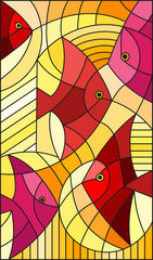 Naklejka Illustration in stained glass style abstract fish,vertical image, warm red and yellow hues