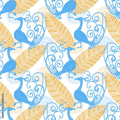 etniczny-wzor-w-pawie-niebieskie-ptaki-na-bialym-tle