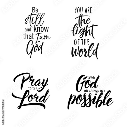 Set Of Christian Lettering Quotes Vector Motivation Phrases Buy