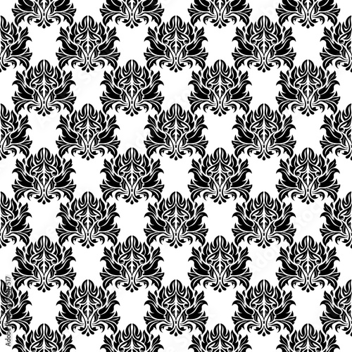 Cotton fabric Black and white monochrome floral seamless pattern