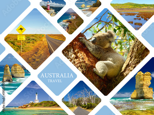 Poster Australie Photo collage of Australia. Great Ocean Road. Twelve Apostles. Travel