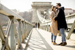 Loving couple on Chain bridge, Budapest
