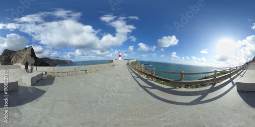 Fototapety, obrazy: View of the lighthouse, in panorama 360,  located at Cape Ortegal. Costa Artabra. Galicia. Spain.