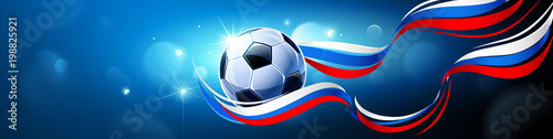 Fotografía Soccer Ball with Flag of Russia on a Blue Background