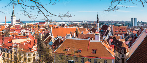 Panoramic view of Tallinn old town on sunny day. Tallinn, Estonia