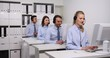 Team of Customer Service Representatives Call Center Happy Agents Show Thumb Up