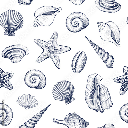 Fotografía Seashells vector seamless pattern.