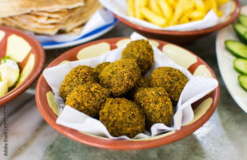 Felafel balls in a rustic bowl