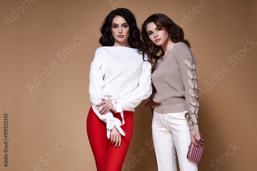 Fotografía  Two sexy glamour fashion model business woman long curly brunette hair wear sweater pants best friend party style or date accessory handbag and luxury jewelry catalog of clothes studio background