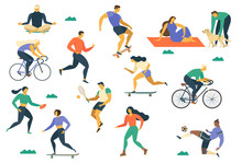 Active Young People. Healthy Lifestyle. Roller Skates, Running, Bicycle, Run, Walk, Yoga Design Element Colorful Vector Illustrations.