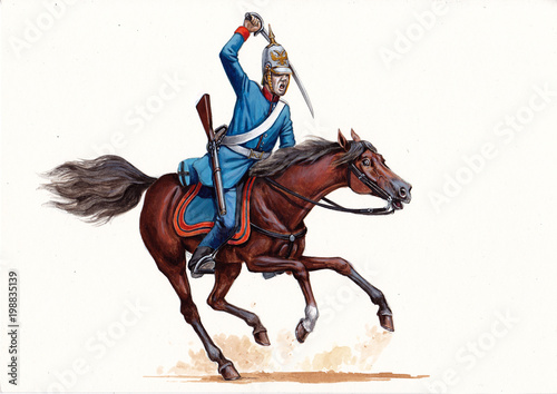 German cavalry illustration Canvas-taulu