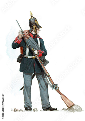 Fotografie, Obraz  Prussian Infantry illustration, 1849