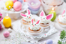 Bunny Cupcakes With White Crea...