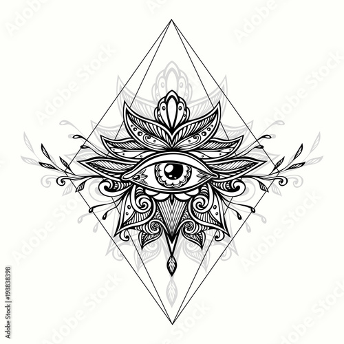 Abstract Symbol Of All Seeing Eye In Boho Indian Asian