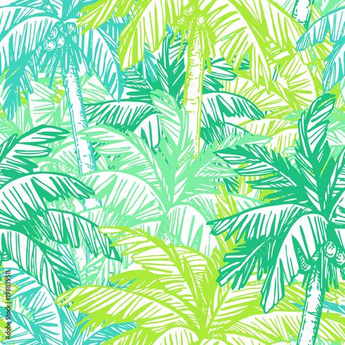 Ingelijste posters Tropische Bladeren Seamless pattern with coconut palm trees