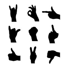Set Of Detailed Silhouettes Of Hands In Different Gestures On White