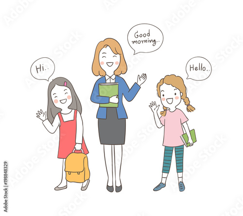 Draw vector illustration character happy girls holding book