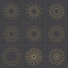 Collection Of Design Elements Geometric Shapes With Line Art Style