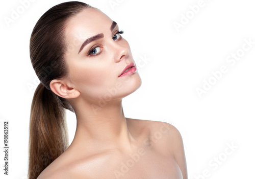 Fototapeta woman with fresh clean face skin and natural make-up woman